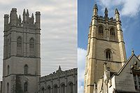 Many older buildings of the University of Chicago employ Collegiate Gothic architecture like that of the University of Oxford. For example, Chicago's Mitchell Tower (left) was modeled after Oxford's Magdalen Tower (right).