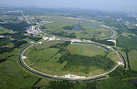 Aerial view of Fermilab, a science research laboratory co-managed by the University of Chicago.