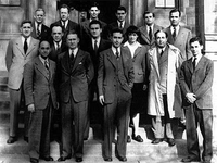 Some of the University of Chicago team that worked on the production of the world's first human-caused self-sustaining nuclear reaction, including Enrico Fermi in the front row and Leó Szilárd in the second.