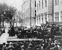 An early convocation ceremony at the University of Chicago.