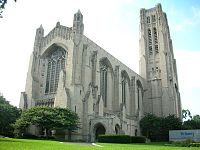 Rockefeller Chapel, constructed in 1928, was designed by Bertram Goodhue in the neo-Gothic style.