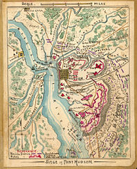 1860s map showing the Siege of Port Hudson