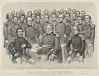 The champions of the Union, lithograph by Currier & Ives, 1861. Banks is among the frontmost standing figures, just left of the central seated figure, General Winfield Scott.