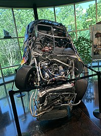 Kluever's wrecked ARCA car from 2005 on display at Roush-Fenway Racing.