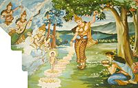 This painting in a Laotian temple depicts a legend surrounding the birth of Gautam Buddha c.undefined 563 BC in Lumbini of western Nepal.