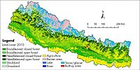 This land cover map of Nepal using Landsat 30 m (2010) data shows forest cover as the dominant type of land cover in Nepal.