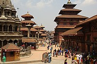 Patan Durbar Square, one of the three palace squares in the Kathmandu Valley, was built by the Mallas in the 17th century. The Durbar Squares are a culmination of over a millennium of development in Nepali art and architecture.