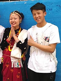 A Magar couple in their ethnic dress.