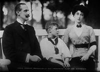 King Haakon VII, Crown Prince Olav and Queen Maud, on 17 July 1913 in Norway