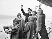 The Royal Family of Norway waving to the welcoming crowds from at Oslo, June 1945.