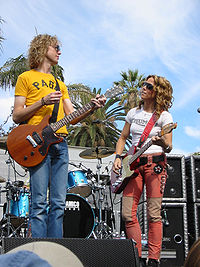 Crow at The Grove of Los Angeles, California in 2002, with guitarist Peter Stroud