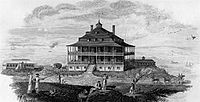 Nahant Hotel, from Boston Monthly Magazine, 1825. Engraving by J.R. Penniman
