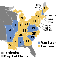 William Henry Harrison defeated Martin Van Buren in the 1840 presidential election, thereby becoming the first Whig president