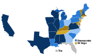 U.S. presidential election results from 1828 to 1852. Darker shades of blue indicate states that generally voted for the Democratic Party, while darker shades of yellow/brown indicate states that generally voted for the Whig or National Republican Party.