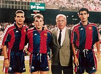Guardiola (right) with Barcelona in 1992