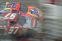 Ricky Craven (#32) edges out Kurt Busch (#97) at the finish line.