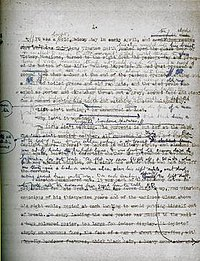 A 1947 draft manuscript of the first page of Nineteen Eighty-Four, showing the editorial development