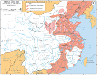 Japanese occupation (red) of eastern China near the end of the war, and Communist guerrilla bases (striped)