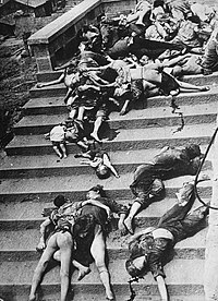 Casualties of a mass panic during a June 1941 Japanese bombing of Chongqing. More than 5,000 civilians died during the first two days of air raids in 1939.