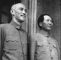 Chiang Kai-shek and Mao Zedong in 1945