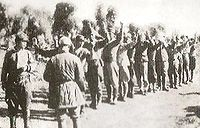 Japanese troops surrendering to the Chinese