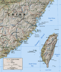 The Taiwan Strait and the island of Taiwan