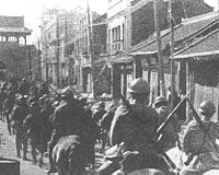 Japanese troops entering Shenyang during the Mukden Incident
