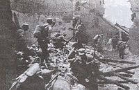 Chinese soldiers in house-to-house fighting in the Battle of Taierzhuang, March–April 1938