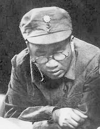 Eighth Route Army Commander Zhu De with KMT Blue Sky White Sun Emblem cap