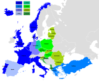Expansion of NATO before and after the collapse of communism throughout Central and Eastern Europe