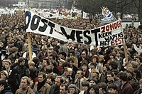 Protest in Amsterdam against the nuclear arms race between the U.S./NATO and the Warsaw Pact, 1981