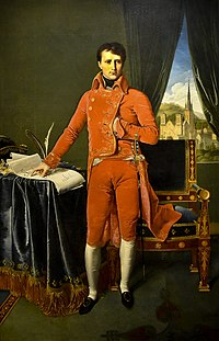 Bonaparte, First Consul, by Ingres. Posing the hand inside the waistcoat was often used in portraits of rulers to indicate calm and stable leadership.