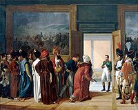 The Iranian envoy Mirza Mohammed Reza-Qazvini meeting with Napoleon I at the Finckenstein Palace in West Prussia, 27 April 1807, to sign the Treaty of Finckenstein