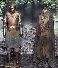Functional weapons and armor, like Brienne of Tarth's (left), were manufactured for the series.