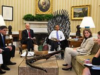 In this manipulated image published by the White House in 2014, US president Barack Obama (a fan of the series) sits on the Iron Throne in the Oval Office with the king's crown on his lap.