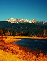 View of Golden Ears from Alouette River