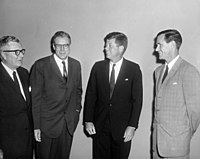 Washington Post owner Phil Graham (far right), editor J. Russell Wiggins (left), and publisher John W. Sweeterman with President Kennedy in 1961