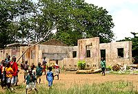 A school in Koindu destroyed during the Civil War; in total 1,270 primary schools were destroyed in the War.
