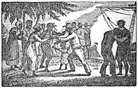 An 1835 illustration of liberated Africans arriving in Sierra Leone