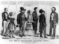 This Democratic editorial cartoon links John C. Frémont to other radical movements including temperance, feminism, Fourierism, free love, Catholicism and abolition