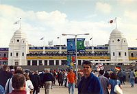 The view of Wembley Stadium from Wembley Way before the semi-final between Germany and England