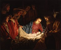 Adoration of the Shepherds (1622) by Gerard van Honthorst depicts the nativity of Jesus
