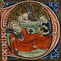 The Nativity, from a 14th-century Missal; a liturgical book containing texts and music necessary for the celebration of Mass throughout the year