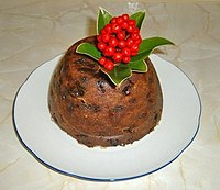 Christmas pudding cooked on Stir-up Sunday, it is traditionally served in the UK, Ireland and in other countries