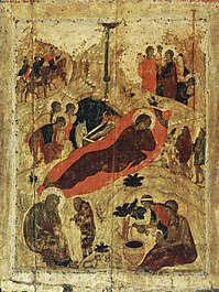 Eastern Orthodox icon of the birth of Christ by Saint Andrei Rublev, 15th century