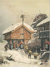 A Norwegian Christmas, 1846 painting by Adolph Tidemand
