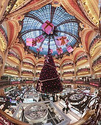 Christmas decorations at the Galeries Lafayette department store in Paris, France. The Christmas season is the busiest trading period for retailers.