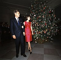 The official White House Christmas tree for 1962, displayed in the Entrance Hall and presented by John F. Kennedy and his wife Jackie.