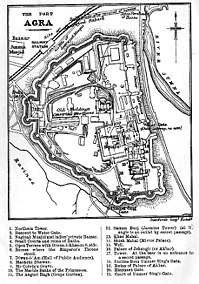 Plan of the Red Fort, Agra from Murray's Handbooks for Travellers 1911