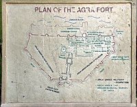 Plan of Agra Fort on display at the fort, 2012